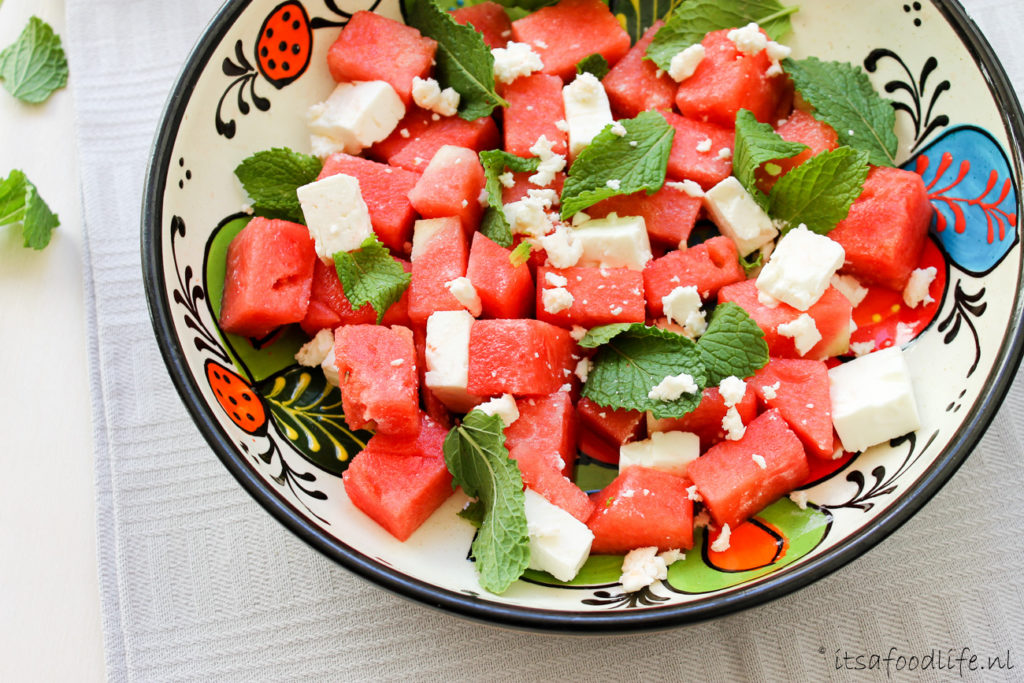 BBQ watermeloensalade met feta en munt