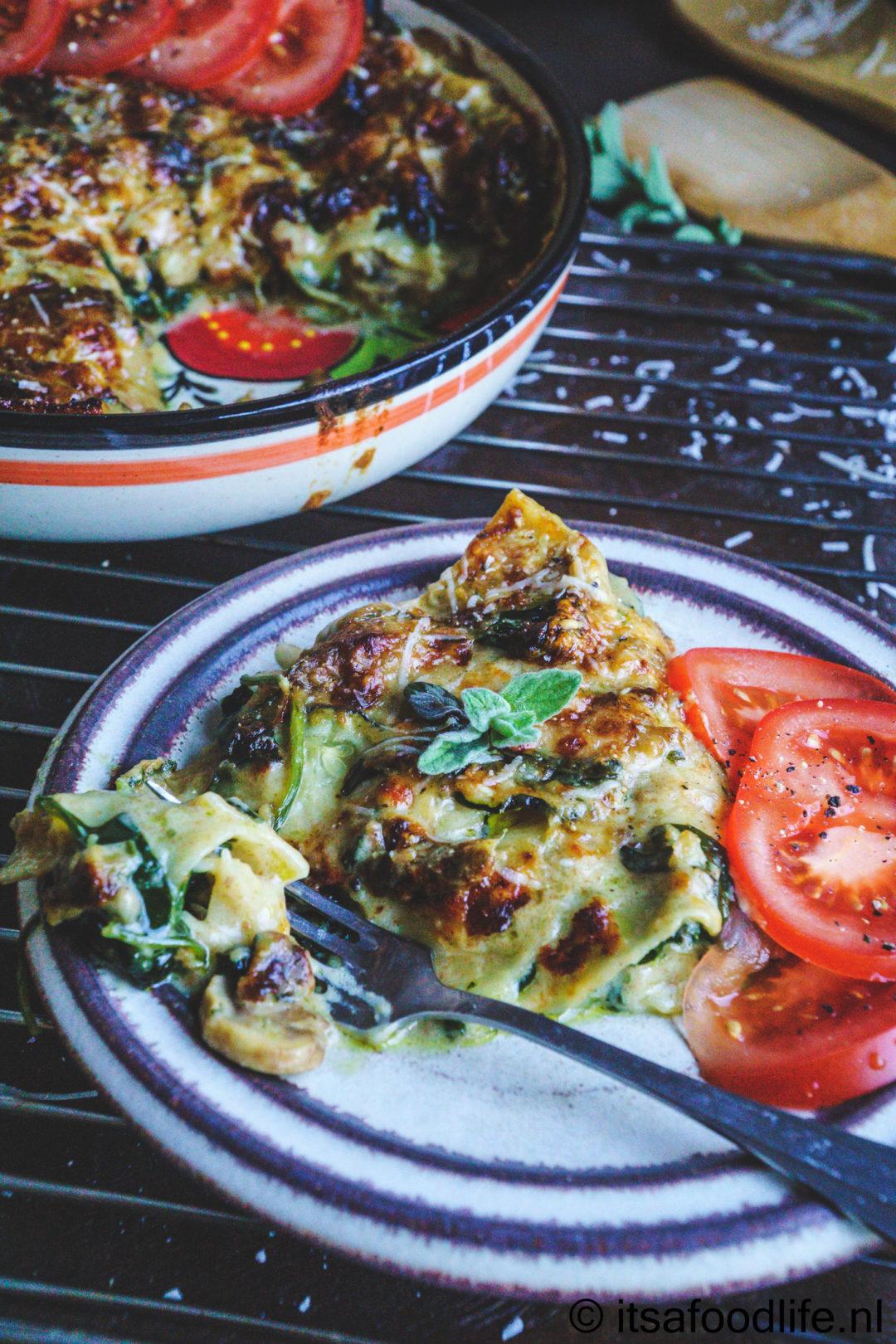Groente lasagne met spinazie en paddenstoelen - It's a food life