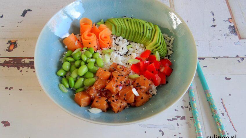 Poké bowl met zalm en bloemkoolrijst van culinea | It's a Food Life