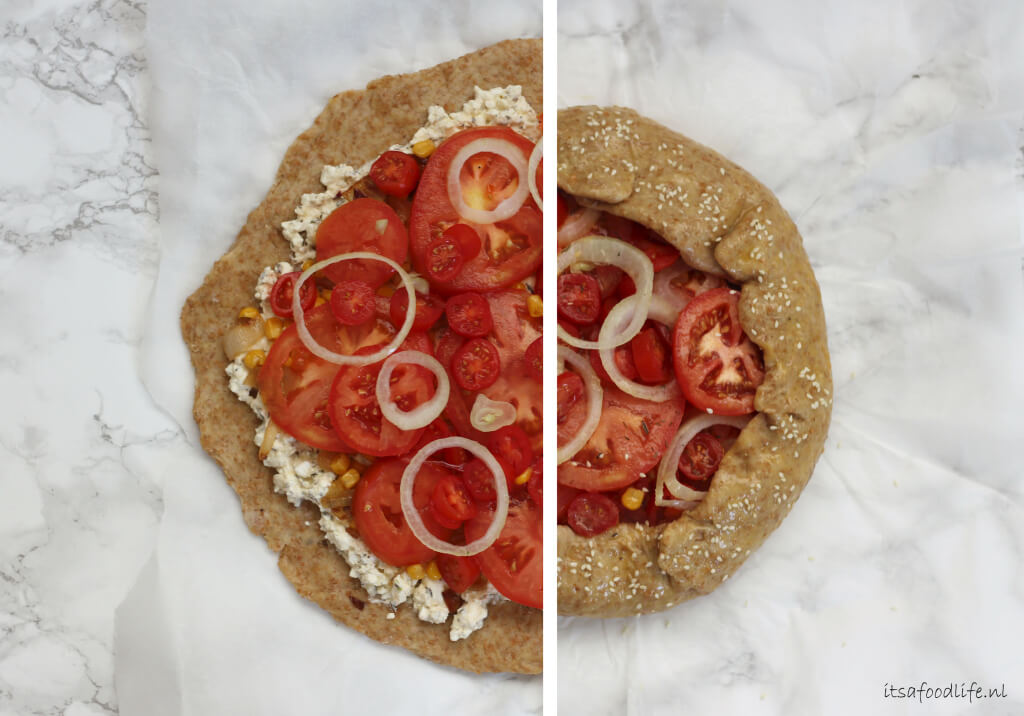 Tomaat, ui en mais galette, met rucolapesto | It's a Food Life