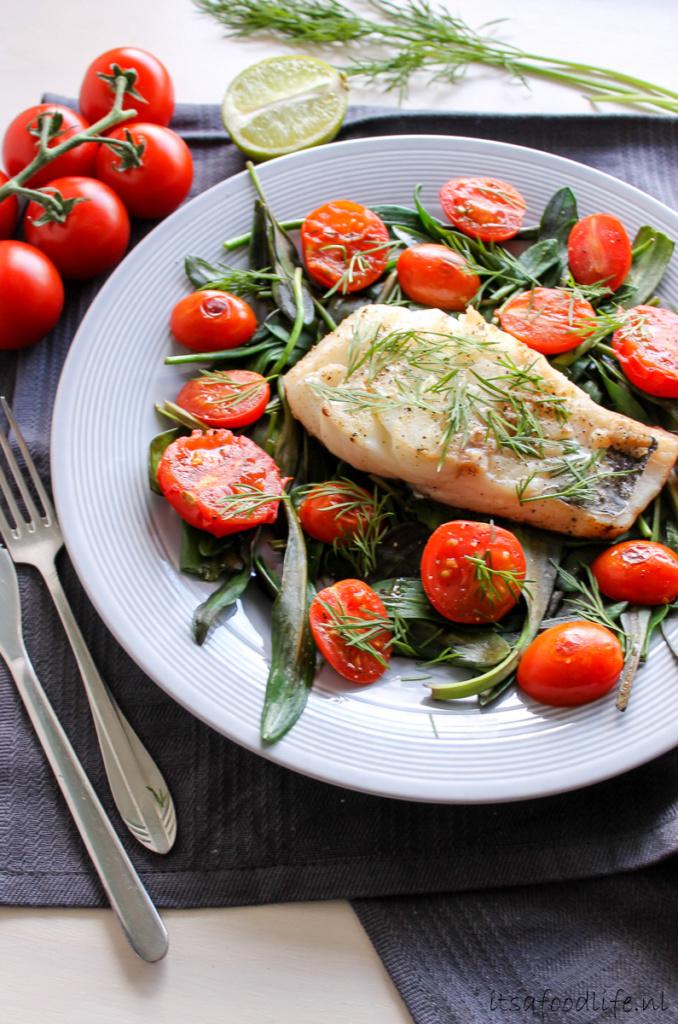 kabeljauw met lamsoor en tomaat - It's a Food Life