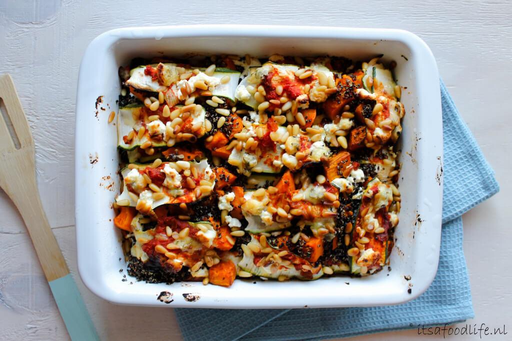 pompoen lasagne met geitenkaas en pijnboompitten| It's a Food Life